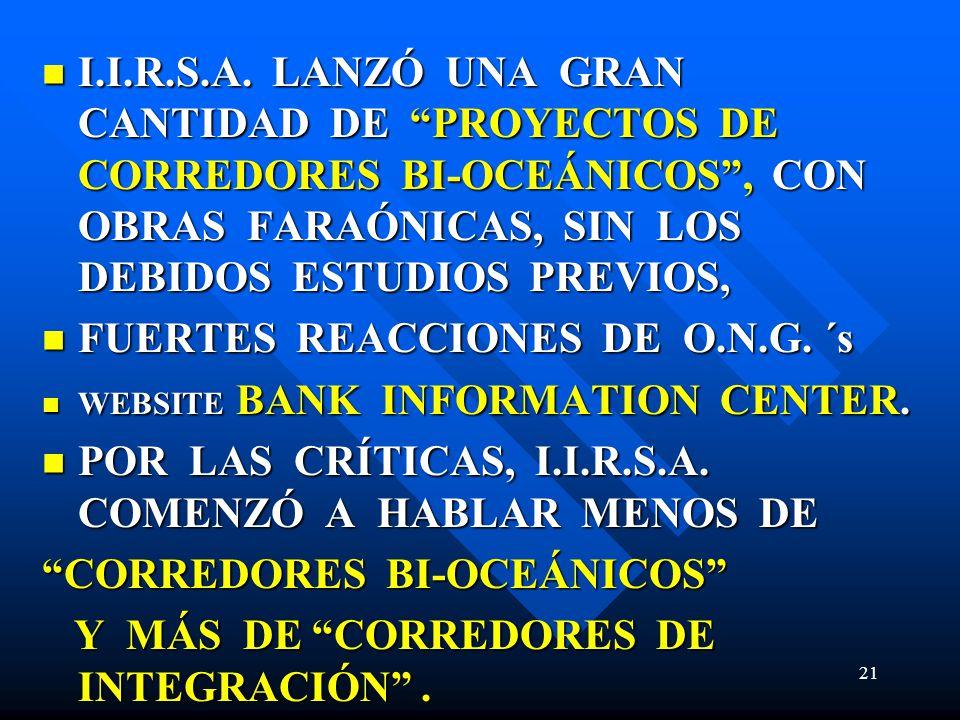 I.I.R.S.A. LANZÓ UNA GRAN CANTIDAD DE PROYECTOS DE CORREDORES BI-OCEÁNICOS, CON OBRAS FARAÓNICAS, SIN LOS DEBIDOS ESTUDIOS PREVIOS, I.I.R.S.A. LANZÓ U