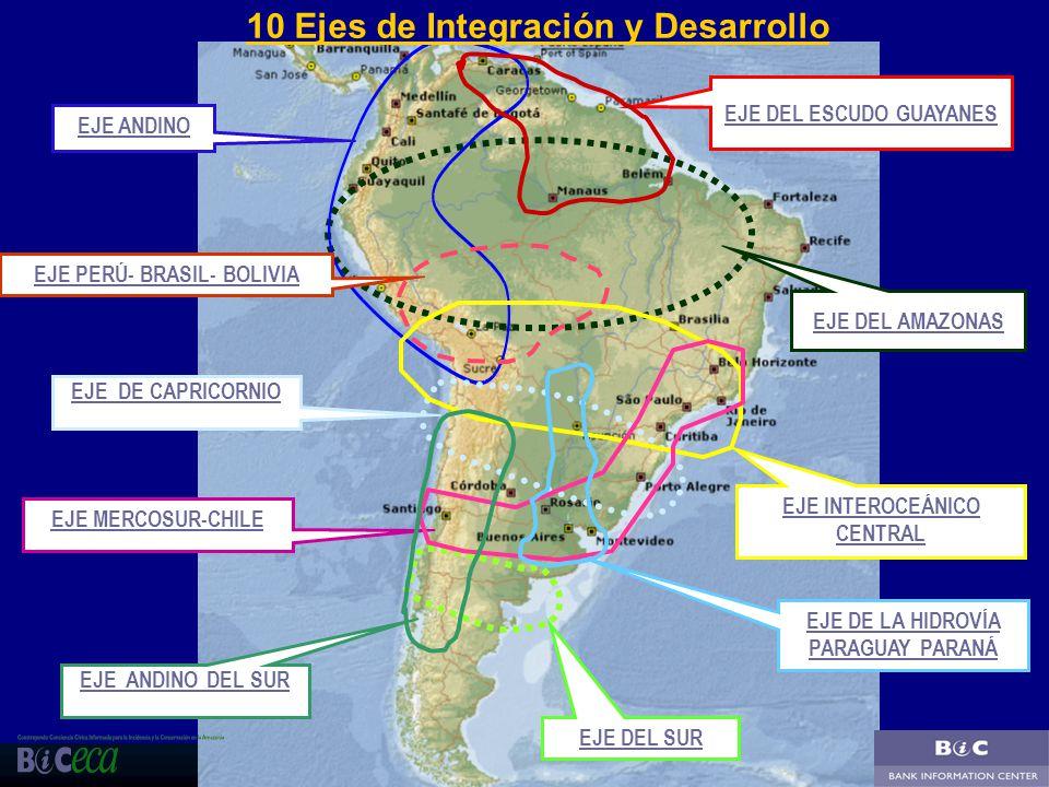 22 EJE ANDINO EJE MERCOSUR-CHILE EJE INTEROCEÁNICO CENTRAL EJE DEL AMAZONAS EJE DEL ESCUDO GUAYANES EJE PERÚ- BRASIL- BOLIVIA EJE DE LA HIDROVÍA PARAG