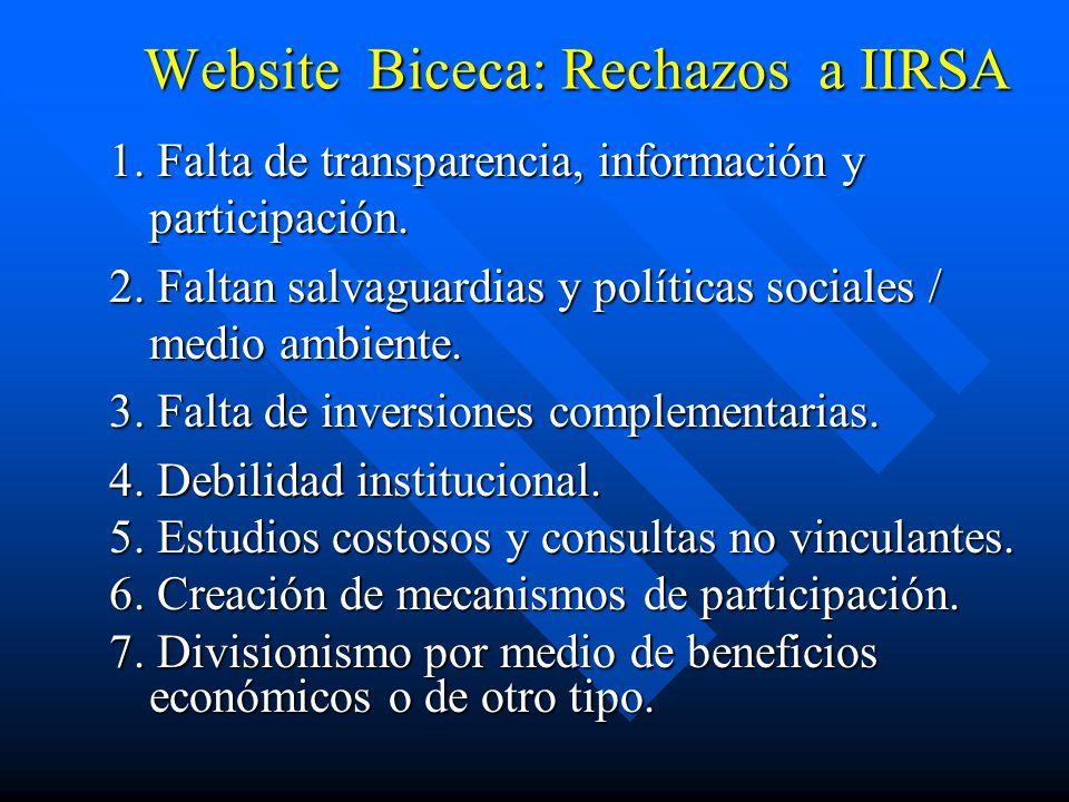 Website Biceca: Rechazos a IIRSA 1. Falta de transparencia, información y participación. 2. Faltan salvaguardias y políticas sociales / medio ambiente