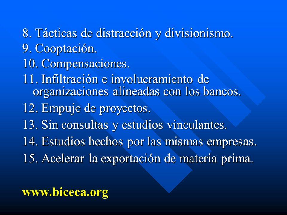 8. Tácticas de distracción y divisionismo. 9. Cooptación. 10. Compensaciones. 11. Infiltración e involucramiento de organizaciones alineadas con los b