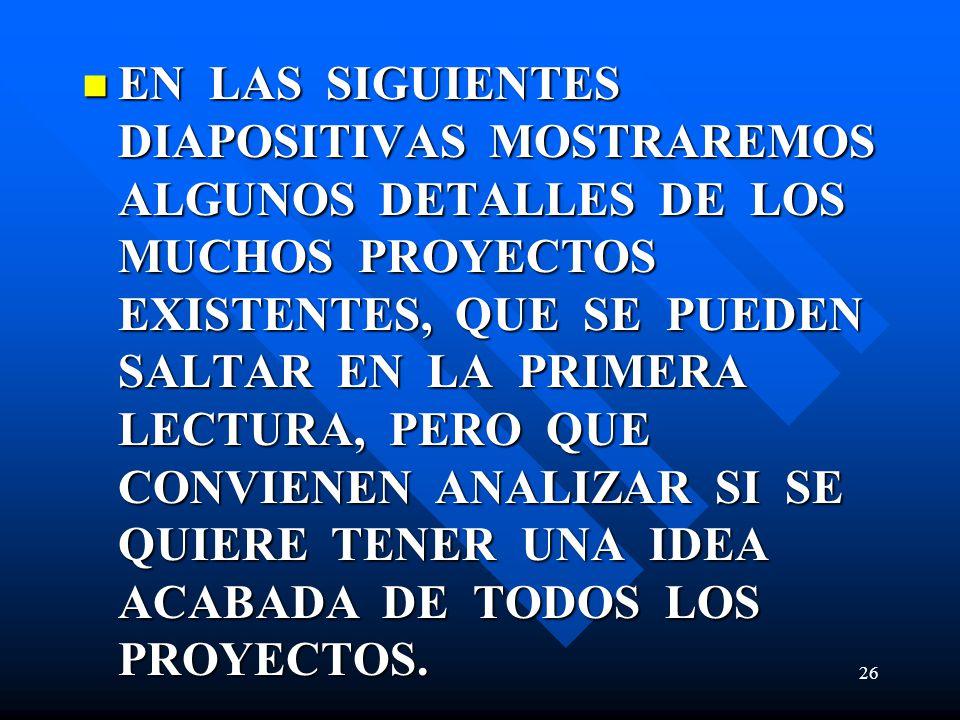 EN LAS SIGUIENTES DIAPOSITIVAS MOSTRAREMOS ALGUNOS DETALLES DE LOS MUCHOS PROYECTOS EXISTENTES, QUE SE PUEDEN SALTAR EN LA PRIMERA LECTURA, PERO QUE CONVIENEN ANALIZAR SI SE QUIERE TENER UNA IDEA ACABADA DE TODOS LOS PROYECTOS.