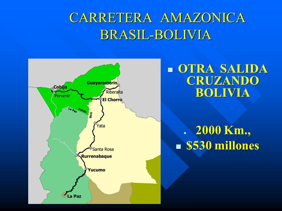 CARRETERA AMAZONICA BRASIL-BOLIVIA CARRETERA AMAZONICA BRASIL-BOLIVIA OTRA SALIDA CRUZANDO BOLIVIA OTRA SALIDA CRUZANDO BOLIVIA 2000 Km., $530 millon $530 millones