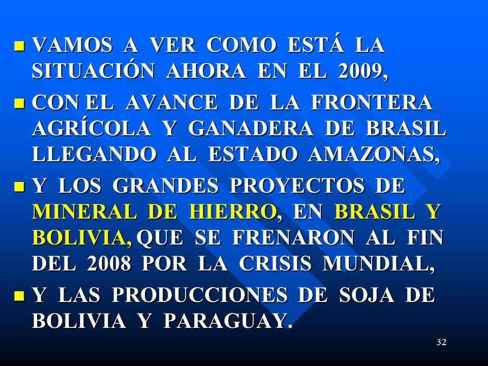 VAMOS A VER COMO ESTÁ LA SITUACIÓN AHORA EN EL 2009, VAMOS A VER COMO ESTÁ LA SITUACIÓN AHORA EN EL 2009, CON EL AVANCE DE LA FRONTERA AGRÍCOLA Y GANADERA DE BRASIL LLEGANDO AL ESTADO AMAZONAS, CON EL AVANCE DE LA FRONTERA AGRÍCOLA Y GANADERA DE BRASIL LLEGANDO AL ESTADO AMAZONAS, Y LOS GRANDES PROYECTOS DE MINERAL DE HIERRO, EN BRASIL Y BOLIVIA, QUE SE FRENARON AL FIN DEL 2008 POR LA CRISIS MUNDIAL, Y LOS GRANDES PROYECTOS DE MINERAL DE HIERRO, EN BRASIL Y BOLIVIA, QUE SE FRENARON AL FIN DEL 2008 POR LA CRISIS MUNDIAL, Y LAS PRODUCCIONES DE SOJA DE BOLIVIA Y PARAGUAY.