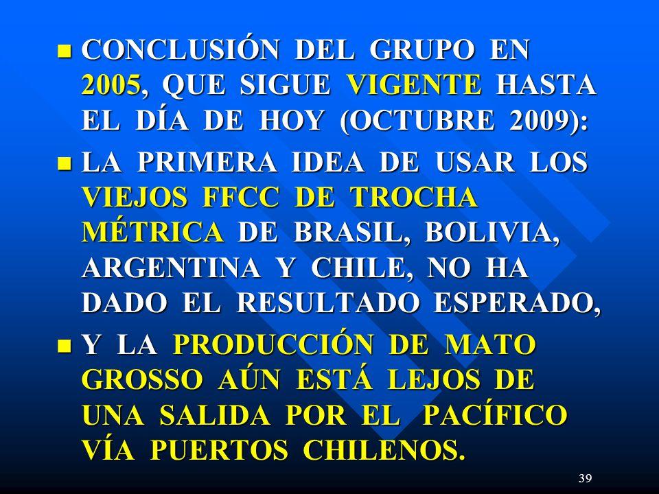 CONCLUSIÓN DEL GRUPO EN 2005, QUE SIGUE VIGENTE HASTA EL DÍA DE HOY (OCTUBRE 2009): CONCLUSIÓN DEL GRUPO EN 2005, QUE SIGUE VIGENTE HASTA EL DÍA DE HOY (OCTUBRE 2009): LA PRIMERA IDEA DE USAR LOS VIEJOS FFCC DE TROCHA MÉTRICA DE BRASIL, BOLIVIA, ARGENTINA Y CHILE, NO HA DADO EL RESULTADO ESPERADO, LA PRIMERA IDEA DE USAR LOS VIEJOS FFCC DE TROCHA MÉTRICA DE BRASIL, BOLIVIA, ARGENTINA Y CHILE, NO HA DADO EL RESULTADO ESPERADO, Y LA PRODUCCIÓN DE MATO GROSSO AÚN ESTÁ LEJOS DE UNA SALIDA POR EL PACÍFICO VÍA PUERTOS CHILENOS.