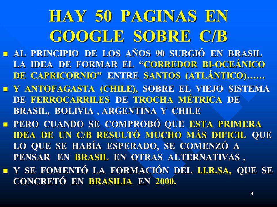 HAY 50 PAGINAS EN GOOGLE SOBRE C/B AL PRINCIPIO DE LOS AÑOS 90 SURGIÓ EN BRASIL LA IDEA DE FORMAR EL CORREDOR BI-OCEÁNICO DE CAPRICORNIO ENTRE SANTOS (ATLÁNTICO)…… AL PRINCIPIO DE LOS AÑOS 90 SURGIÓ EN BRASIL LA IDEA DE FORMAR EL CORREDOR BI-OCEÁNICO DE CAPRICORNIO ENTRE SANTOS (ATLÁNTICO)…… Y ANTOFAGASTA (CHILE), SOBRE EL VIEJO SISTEMA DE FERROCARRILES DE TROCHA MÉTRICA DE BRASIL, BOLIVIA, ARGENTINA Y CHILE Y ANTOFAGASTA (CHILE), SOBRE EL VIEJO SISTEMA DE FERROCARRILES DE TROCHA MÉTRICA DE BRASIL, BOLIVIA, ARGENTINA Y CHILE PERO CUANDO SE COMPROBÓ QUE ESTA PRIMERA IDEA DE UN C/B RESULTÓ MUCHO MÁS DIFICIL QUE LO QUE SE HABÍA ESPERADO, SE COMENZÓ A PENSAR EN BRASIL EN OTRAS ALTERNATIVAS, PERO CUANDO SE COMPROBÓ QUE ESTA PRIMERA IDEA DE UN C/B RESULTÓ MUCHO MÁS DIFICIL QUE LO QUE SE HABÍA ESPERADO, SE COMENZÓ A PENSAR EN BRASIL EN OTRAS ALTERNATIVAS, Y SE FOMENTÓ LA FORMACIÓN DEL I.I.R.SA, QUE SE CONCRETÓ EN BRASILIA EN 2000.