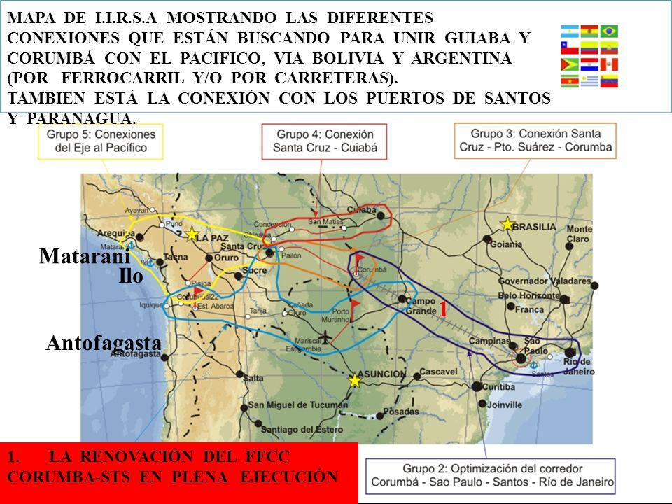 40 Matarani Antofagasta Ilo MAPA DE I.I.R.S.A MOSTRANDO LAS DIFERENTES CONEXIONES QUE ESTÁN BUSCANDO PARA UNIR GUIABA Y CORUMBÁ CON EL PACIFICO, VIA BOLIVIA Y ARGENTINA (POR FERROCARRIL Y/O POR CARRETERAS).