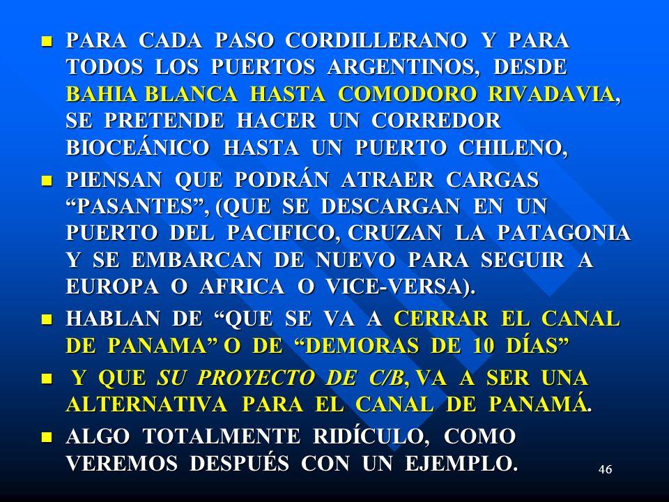 PARA CADA PASO CORDILLERANO Y PARA TODOS LOS PUERTOS ARGENTINOS, DESDE BAHIA BLANCA HASTA COMODORO RIVADAVIA, SE PRETENDE HACER UN CORREDOR BIOCEÁNICO HASTA UN PUERTO CHILENO, PARA CADA PASO CORDILLERANO Y PARA TODOS LOS PUERTOS ARGENTINOS, DESDE BAHIA BLANCA HASTA COMODORO RIVADAVIA, SE PRETENDE HACER UN CORREDOR BIOCEÁNICO HASTA UN PUERTO CHILENO, PIENSAN QUE PODRÁN ATRAER CARGAS PASANTES, (QUE SE DESCARGAN EN UN PUERTO DEL PACIFICO, CRUZAN LA PATAGONIA Y SE EMBARCAN DE NUEVO PARA SEGUIR A EUROPA O AFRICA O VICE-VERSA).