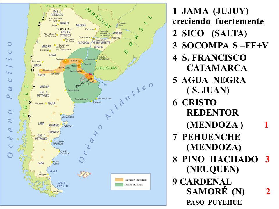 47 MAPA ARGENTINA 47 POROTOS 1 JAMA (JUJUY) creciendo fuertemente 2 SICO (SALTA) 3 SOCOMPA S –FF+V 4 S. FRANCISCO CATAMARCA 5 AGUA NEGRA ( S. JUAN) 6