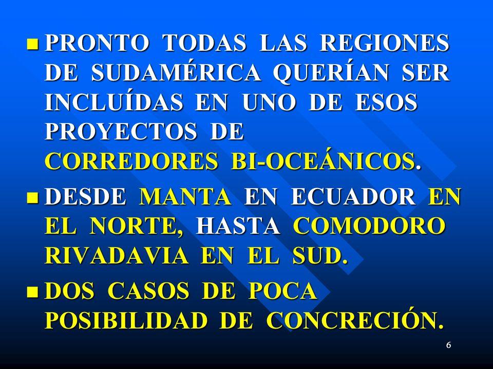 PRONTO TODAS LAS REGIONES DE SUDAMÉRICA QUERÍAN SER INCLUÍDAS EN UNO DE ESOS PROYECTOS DE CORREDORES BI-OCEÁNICOS.