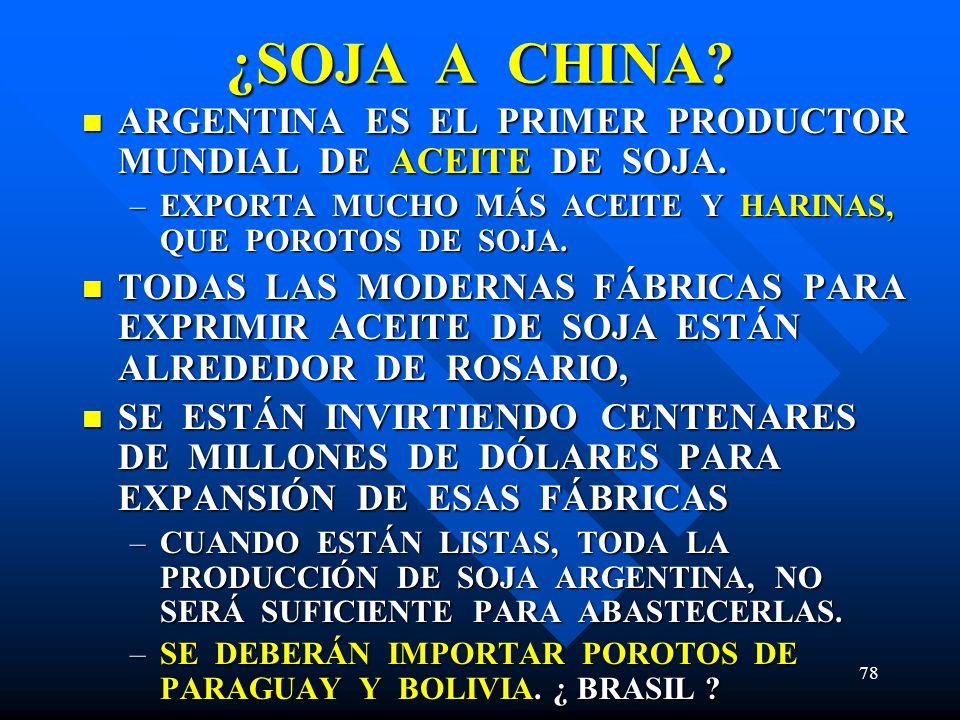 78 ¿SOJA A CHINA? ARGENTINA ES EL PRIMER PRODUCTOR MUNDIAL DE ACEITE DE SOJA. ARGENTINA ES EL PRIMER PRODUCTOR MUNDIAL DE ACEITE DE SOJA. –EXPORTA MUC