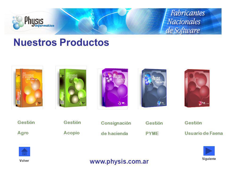 Consignación de hacienda Gestión PYME Gestión Agro Gestión Acopio Nuestros Productos www.physis.com.ar Siguiente Volver Gestión Usuario de Faena