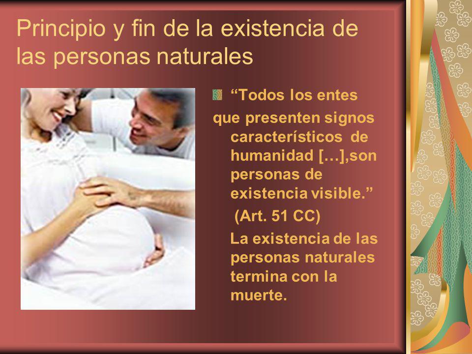 Principio y fin de la existencia de las personas naturales Todos los entes que presenten signos característicos de humanidad […],son personas de exist