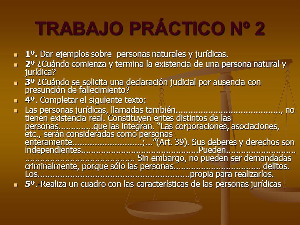 TRABAJO PRÁCTICO Nº 2 1º. Dar ejemplos sobre personas naturales y jurídicas. 2º ¿Cuándo comienza y termina la existencia de una persona natural y jurí