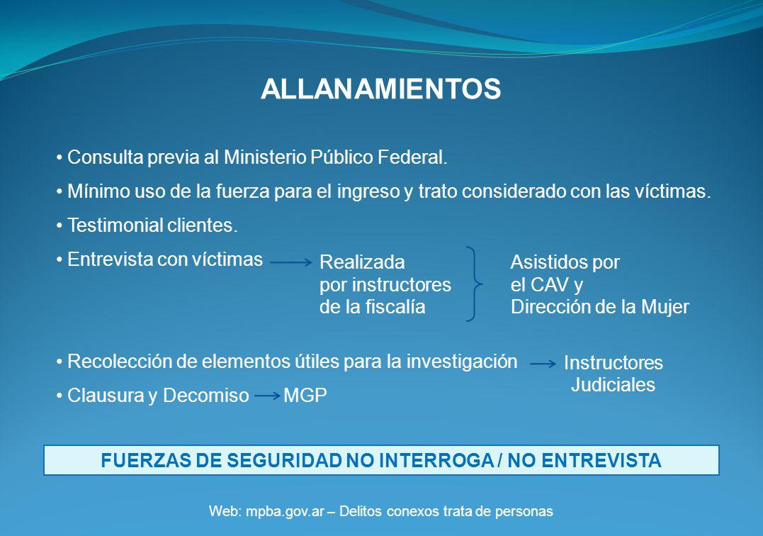 ALLANAMIENTOS Web: mpba.gov.ar – Delitos conexos trata de personas Consulta previa al Ministerio Público Federal.