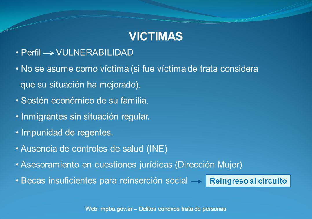 VICTIMAS Web: mpba.gov.ar – Delitos conexos trata de personas Perfil VULNERABILIDAD No se asume como víctima (si fue víctima de trata considera que su situación ha mejorado).