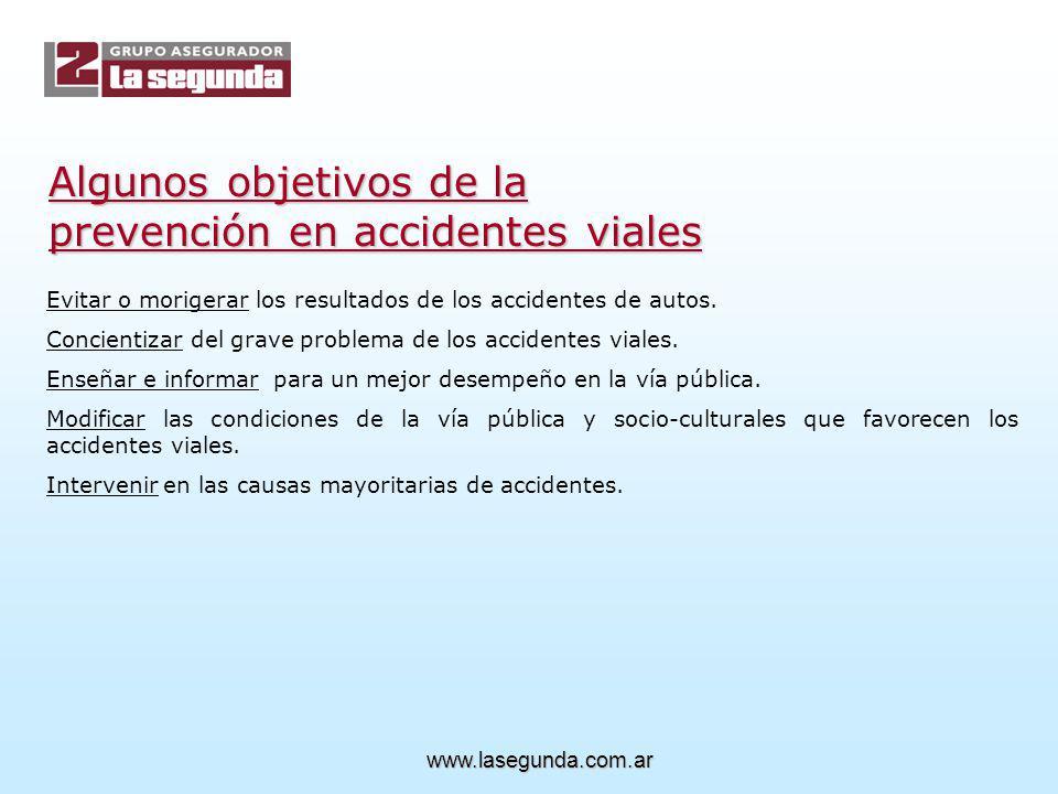 Algunos objetivos de la prevención en accidentes viales Evitar o morigerar los resultados de los accidentes de autos.