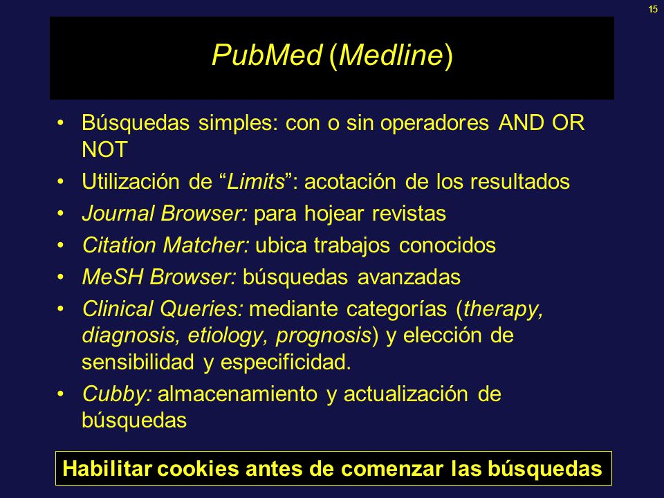 15 PubMed (Medline) Búsquedas simples: con o sin operadores AND OR NOT Utilización de Limits: acotación de los resultados Journal Browser: para hojear