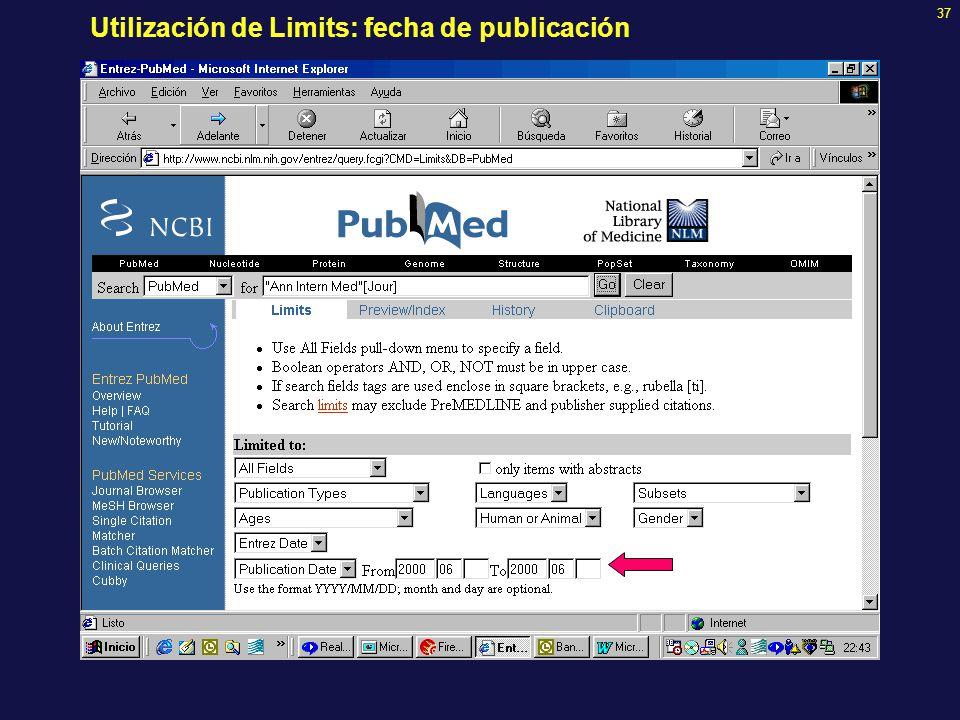 37 Utilización de Limits: fecha de publicación
