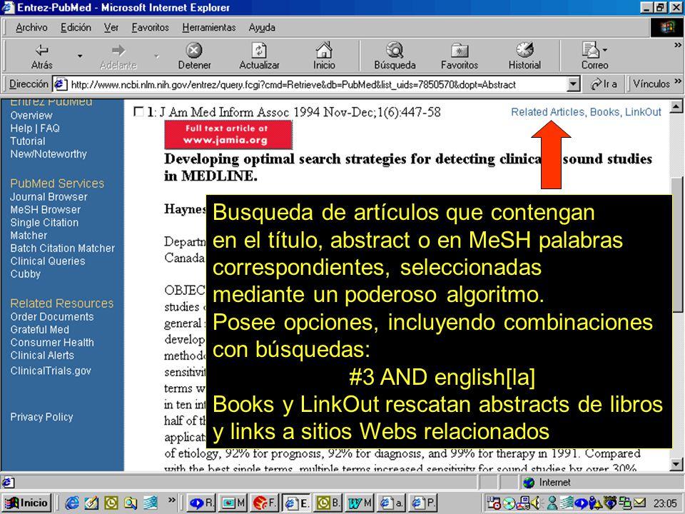 43 Busqueda de artículos que contengan en el título, abstract o en MeSH palabras correspondientes, seleccionadas mediante un poderoso algoritmo. Posee