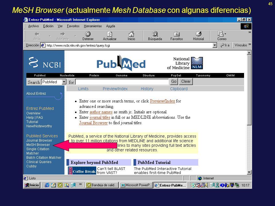 45 MeSH Browser (actualmente Mesh Database con algunas diferencias)