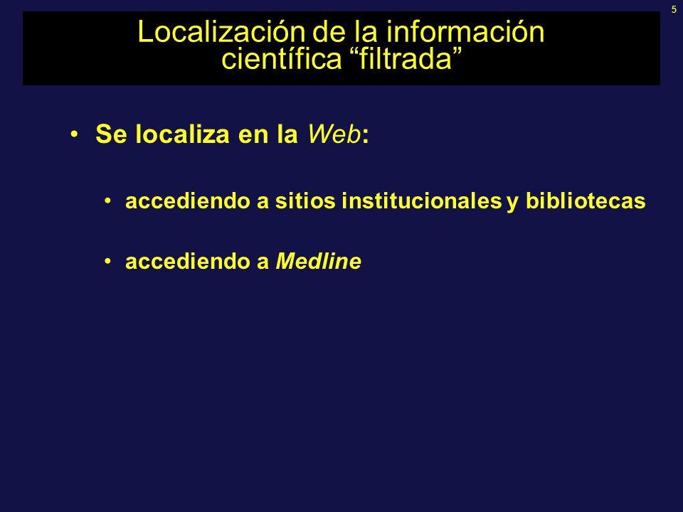 5 Localización de la información científica filtrada Se localiza en la Web: accediendo a sitios institucionales y bibliotecas accediendo a Medline
