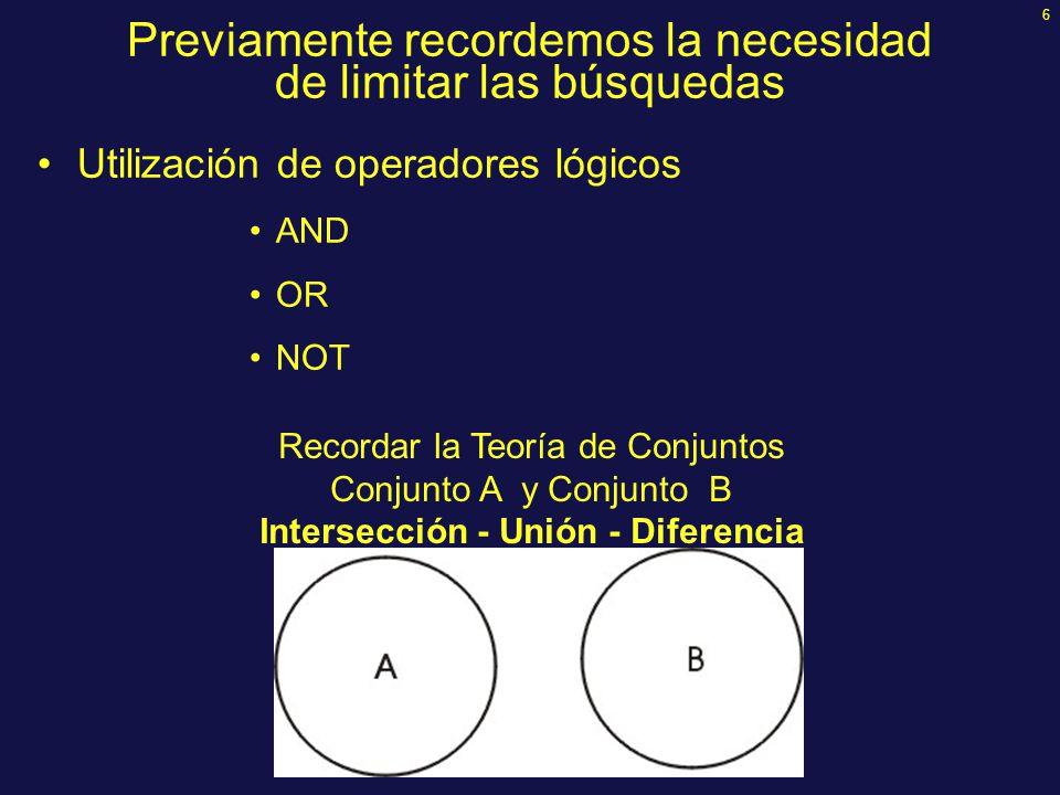 6 Previamente recordemos la necesidad de limitar las búsquedas Utilización de operadores lógicos AND OR NOT Recordar la Teoría de Conjuntos Conjunto A y Conjunto B Intersección - Unión - Diferencia