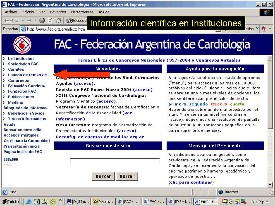 66 Información científica en instituciones