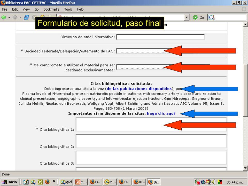 76 Armando Pacher Formulario de solicitud, paso final