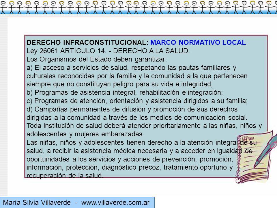 Muchas gracias María Silvia Villaverde - www.villaverde.com.ar DERECHO INFRACONSTITUCIONAL: MARCO NORMATIVO LOCAL Ley 26061 ARTICULO 14.