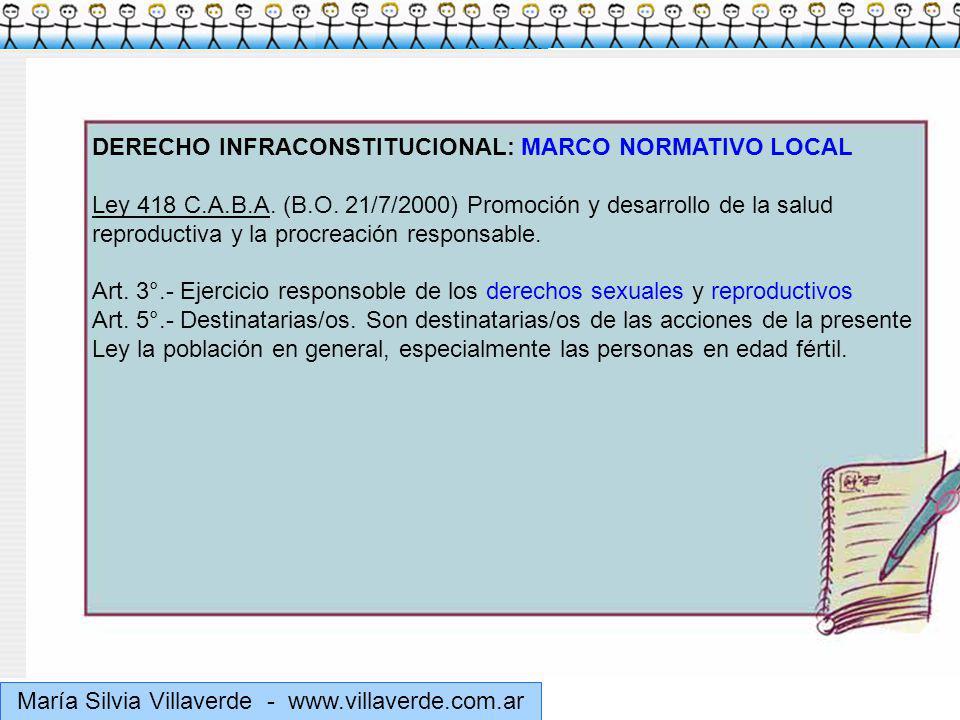 Muchas gracias María Silvia Villaverde - www.villaverde.com.ar DERECHO INFRACONSTITUCIONAL: MARCO NORMATIVO LOCAL Ley 418 C.A.B.A.