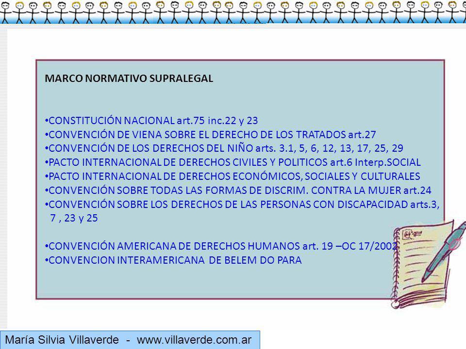 Muchas gracias María Silvia Villaverde - www.villaverde.com.ar MARCO NORMATIVO SUPRALEGAL CONSTITUCIÓN NACIONAL art.75 inc.22 y 23 CONVENCIÓN DE VIENA SOBRE EL DERECHO DE LOS TRATADOS art.27 CONVENCIÓN DE LOS DERECHOS DEL NIÑO arts.