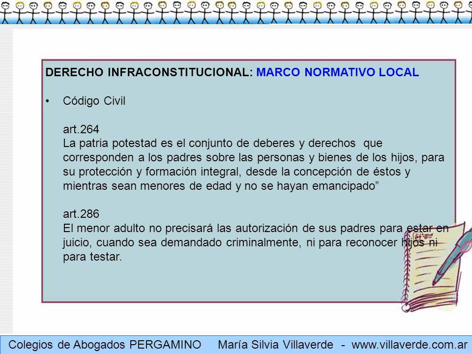 Muchas gracias María Silvia Villaverde - www.villaverde.com.ar DERECHO INFRACONSTITUCIONAL: MARCO NORMATIVO LOCAL Ley 26061 – Decreto 415/2006 art.14 (art.7 Define Familia) + art.3 in fine ARTICULO 3° - INTERES SUPERIOR.