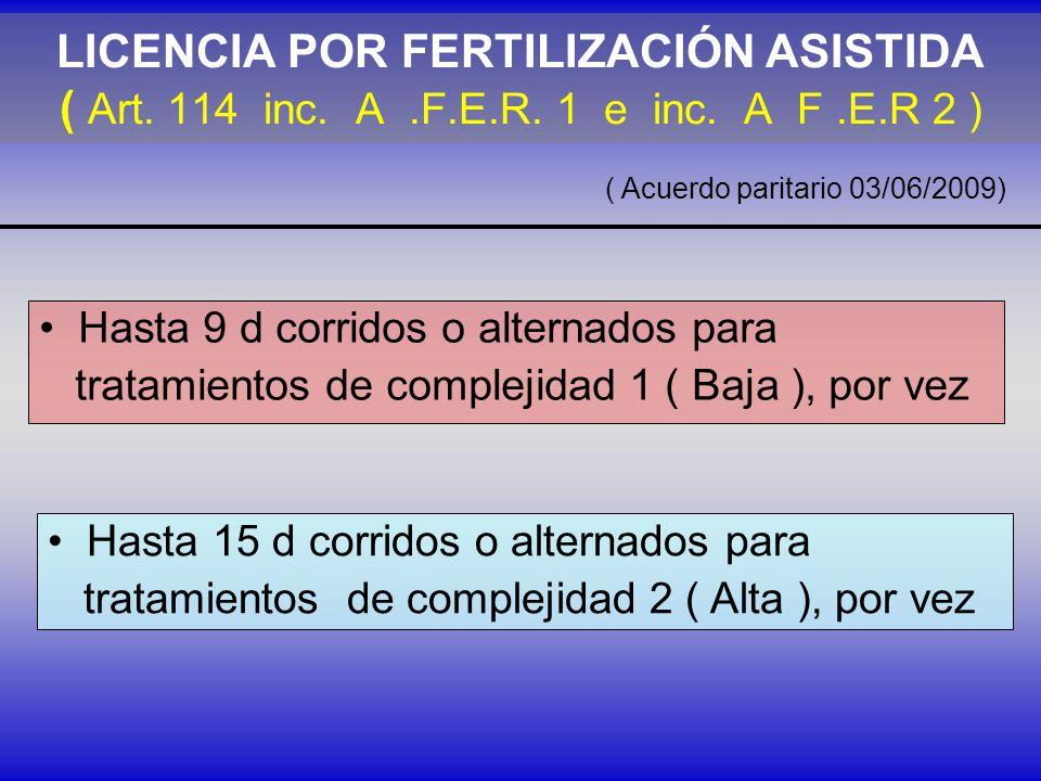 LICENCIA POR FERTILIZACIÓN ASISTIDA ( Art.114 inc.