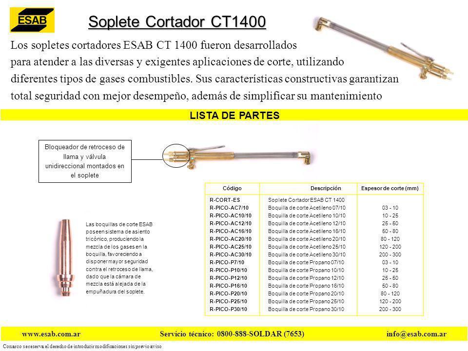 Conarco se reserva el derecho de introducir modificaciones sin previo aviso www.esab.com.ar Servicio técnico: 0800-888-SOLDAR (7653) info@esab.com.ar