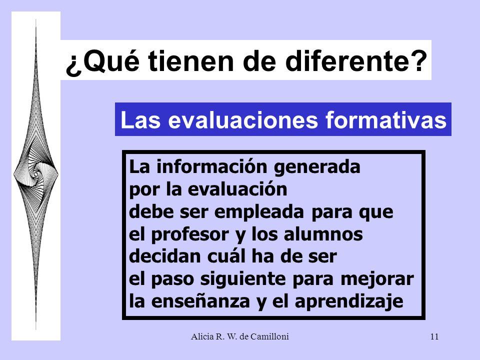 Alicia R. W. de Camilloni11 ¿Qué tienen de diferente? Las evaluaciones formativas La información generada por la evaluación debe ser empleada para que