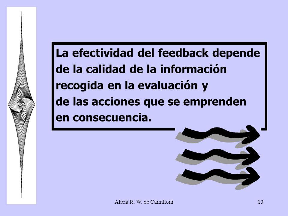 Alicia R. W. de Camilloni13 La efectividad del feedback depende de la calidad de la información recogida en la evaluación y de las acciones que se emp