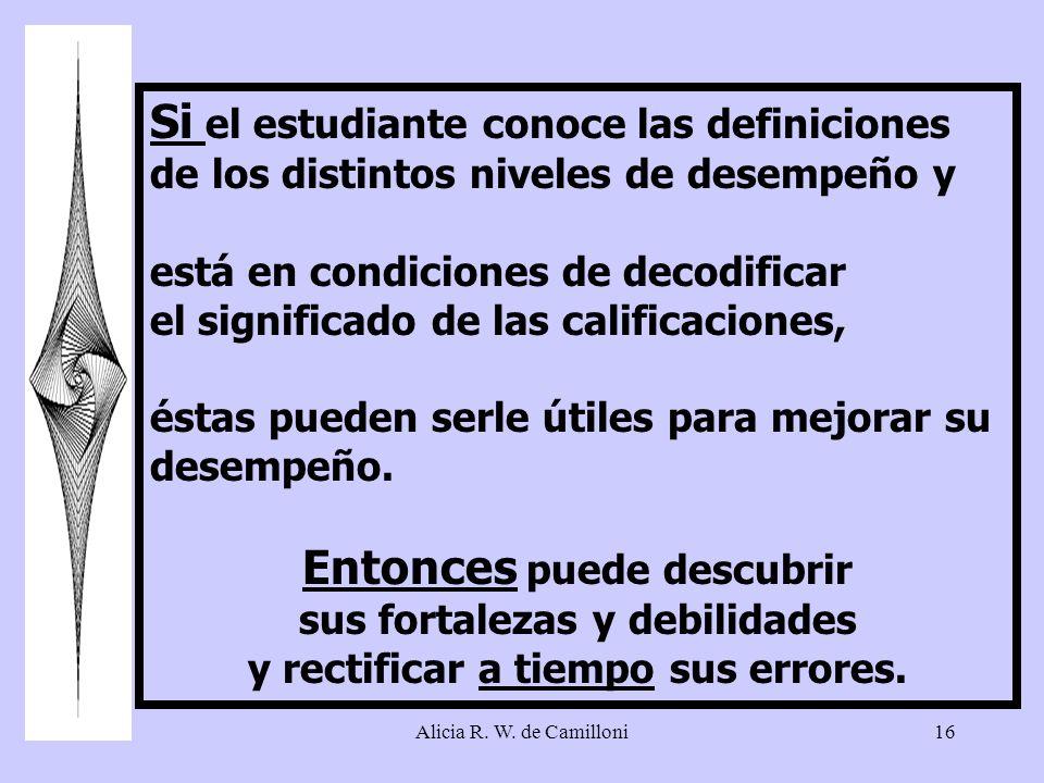 Alicia R. W. de Camilloni16 Si el estudiante conoce las definiciones de los distintos niveles de desempeño y está en condiciones de decodificar el sig