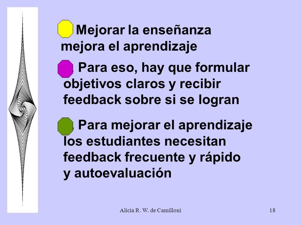 Alicia R. W. de Camilloni18 1.Mejorar la enseñanza mejora el aprendizaje 2. Para eso, hay que formular objetivos claros y recibir feedback sobre si se