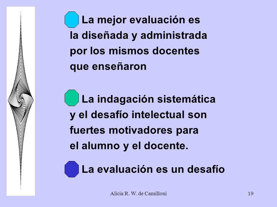 Alicia R. W. de Camilloni19 4. La mejor evaluación es la diseñada y administrada por los mismos docentes que enseñaron 5. La indagación sistemática y