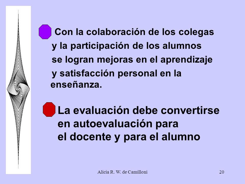 Alicia R. W. de Camilloni20 6. Con la colaboración de los colegas y la participación de los alumnos se logran mejoras en el aprendizaje y satisfacción