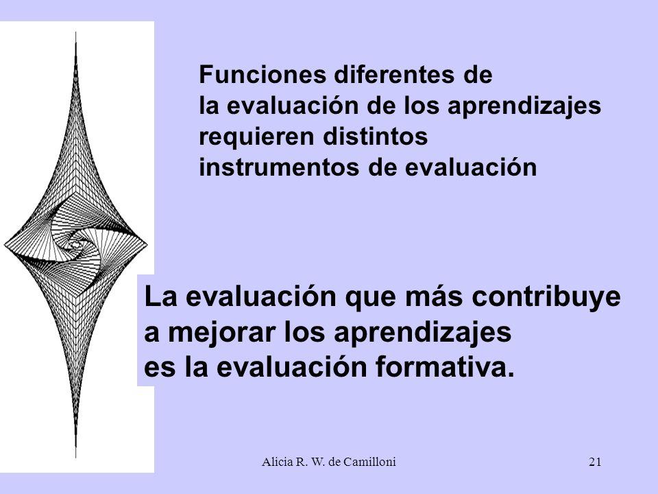 Alicia R. W. de Camilloni21 Funciones diferentes de la evaluación de los aprendizajes requieren distintos instrumentos de evaluación La evaluación que