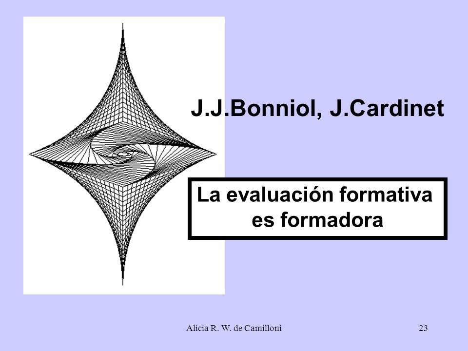 Alicia R. W. de Camilloni23 J.J.Bonniol, J.Cardinet La evaluación formativa es formadora