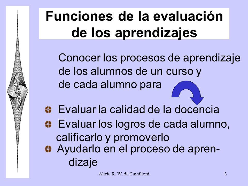 Alicia R. W. de Camilloni3 Funciones de la evaluación de los aprendizajes Conocer los procesos de aprendizaje de los alumnos de un curso y de cada alu