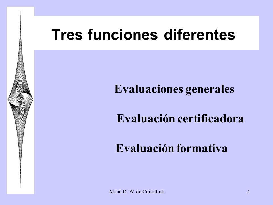 Alicia R. W. de Camilloni4 Tres funciones diferentes Evaluaciones generales Evaluación certificadora Evaluación formativa