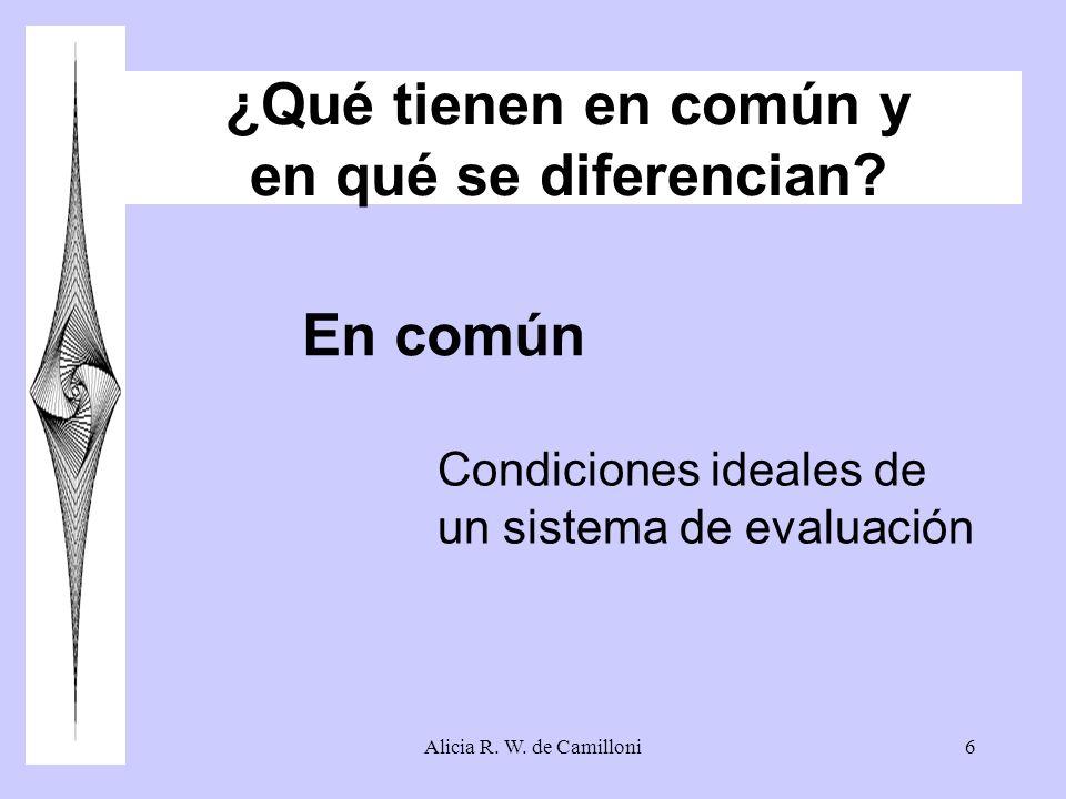 Alicia R. W. de Camilloni6 ¿Qué tienen en común y en qué se diferencian? Condiciones ideales de un sistema de evaluación En común