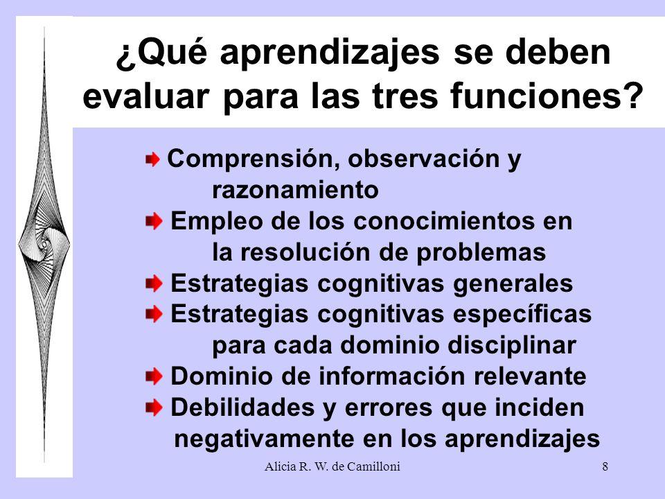 Alicia R. W. de Camilloni8 ¿Qué aprendizajes se deben evaluar para las tres funciones? Comprensión, observación y razonamiento Empleo de los conocimie