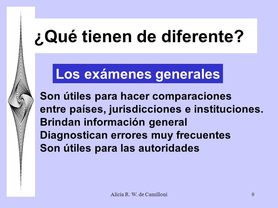 Alicia R. W. de Camilloni9 ¿Qué tienen de diferente? Los exámenes generales Son útiles para hacer comparaciones entre países, jurisdicciones e institu