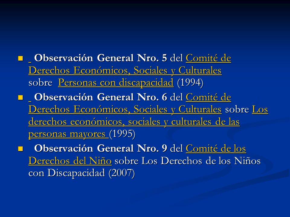 Observación General Nro. 5 del Comité de Derechos Económicos, Sociales y Culturales sobre Personas con discapacidad (1994) Observación General Nro. 5