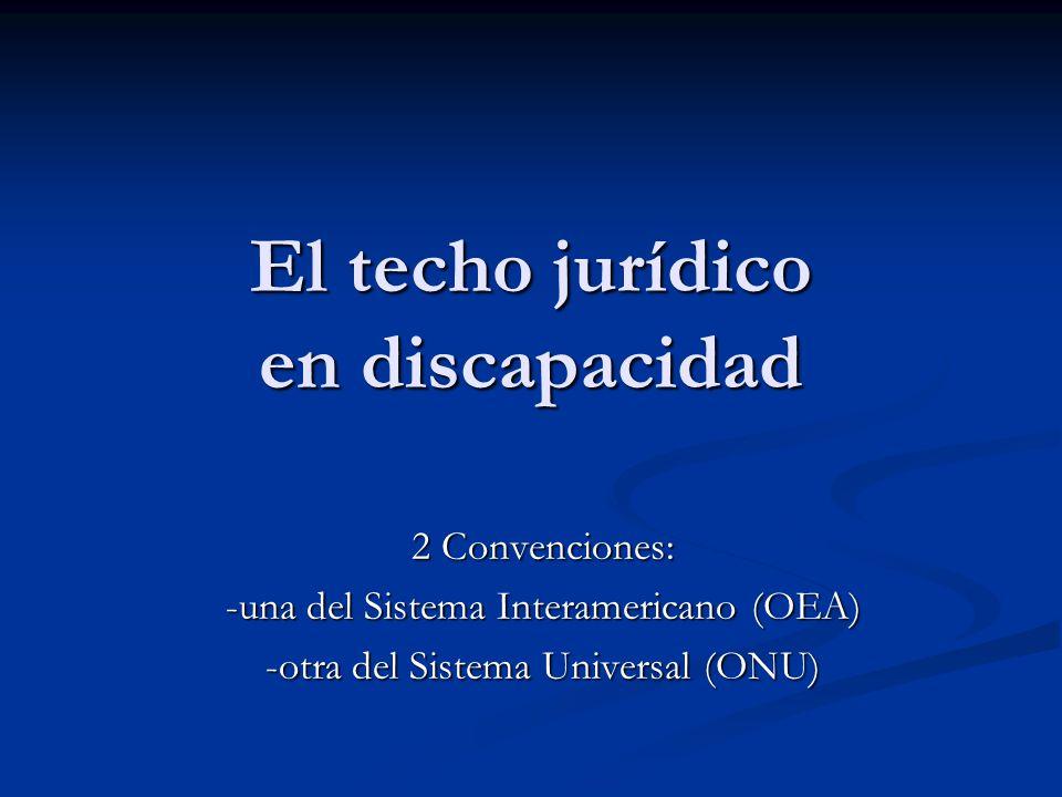 El techo jurídico en discapacidad 2 Convenciones: -una del Sistema Interamericano (OEA) -otra del Sistema Universal (ONU)