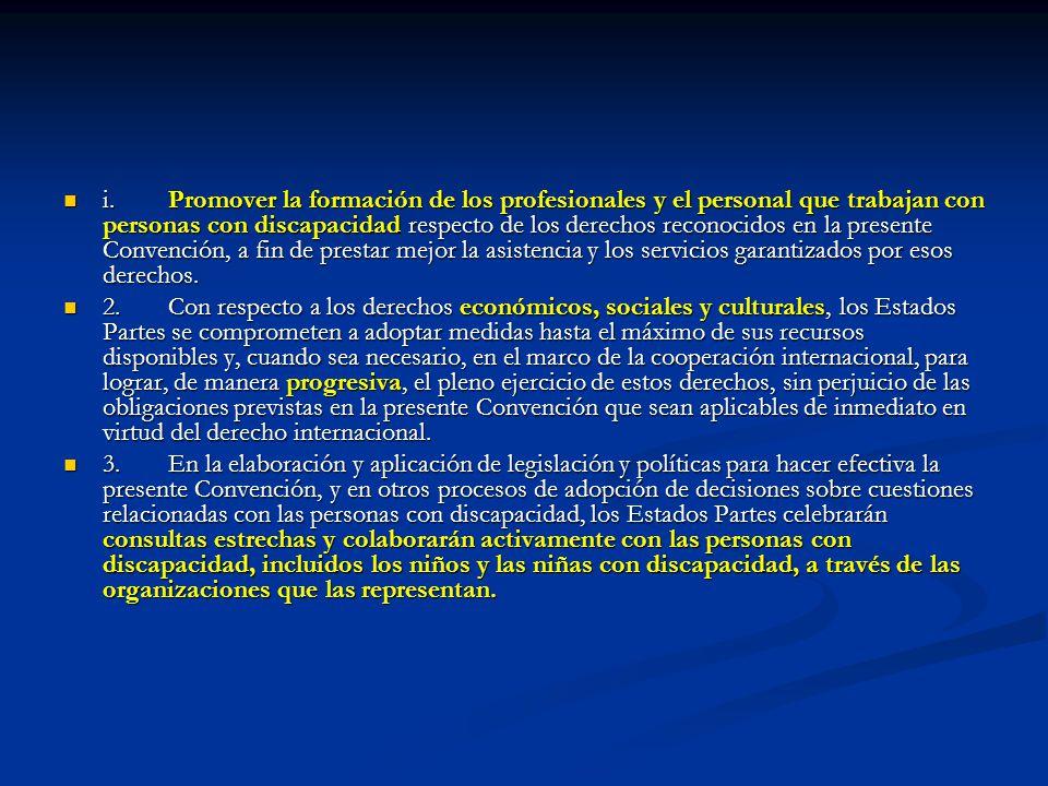 i.Promover la formación de los profesionales y el personal que trabajan con personas con discapacidad respecto de los derechos reconocidos en la prese